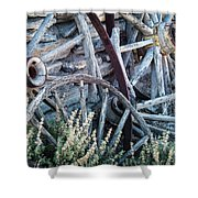 Belmont Broken Wagon Wheels 1649 Shower Curtain