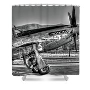 Betty Jane P51d Mustang At Livermomre Shower Curtain