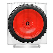 Big Tractor Tire Isolated On White Shower Curtain