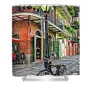 Bike And Lamppost In Pirate's Alley Shower Curtain