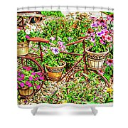 Bike Blossoms Shower Curtain