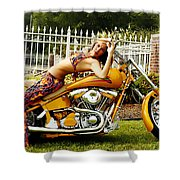 Bikes And Babes Shower Curtain by Clayton Bruster
