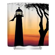 Biloxi Lighthouse At Dusk Shower Curtain