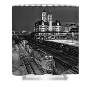 Black And White Fine Art Print Of Union Station In Nashville, Tennessee Shower Curtain