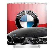 Black B M W - Front Grill Ornament And 3 D Badge On Red Shower Curtain by Serge Averbukh