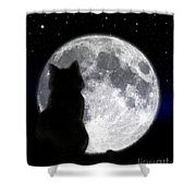 Black Cat And Full Moon Shower Curtain