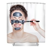 Black Charcoal Mask Application On Beautiful Woman. Shower Curtain