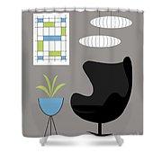 Black Egg Chair Shower Curtain