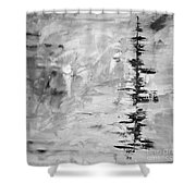 Black Gray Abstract Shower Curtain