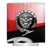 Black Jaguar - Hood Ornaments And 3 D Badge On Red Shower Curtain by Serge Averbukh