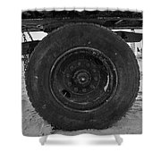 Black Wheel Shower Curtain