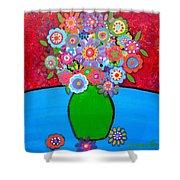 Blooms 3 Shower Curtain by Pristine Cartera Turkus