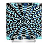 Blue And Black Abstract Shower Curtain