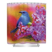 Blue Bird In The Lilac's Shower Curtain
