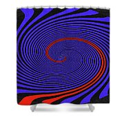 Blue Black And Red Twirl Abstract Shower Curtain