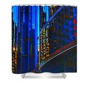 Blue Cityscape Shower Curtain