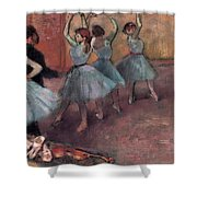 Blue Dancers Shower Curtain by Edgar Degas