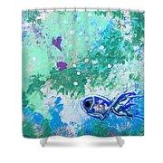 1 Blue Fish Shower Curtain