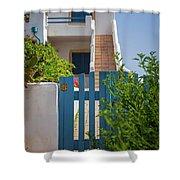 Blue Gate In Greece Shower Curtain
