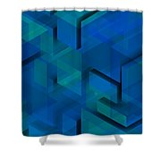 Blue Geometric Composition 1 Shower Curtain