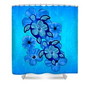 Blue Hibiscus And Honu Turtles Shower Curtain