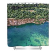 Blue Laggon See From Above In Old Sand Mine In Poland. Shower Curtain
