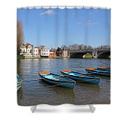 Blue Rowing Boats On The Thames At Hampton Court London Shower Curtain