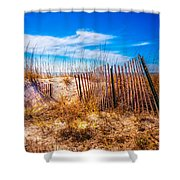 Blue Sky Over The Dunes Shower Curtain