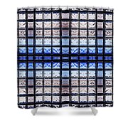 Blue Toned Glass Brick Window Abstract  Shower Curtain