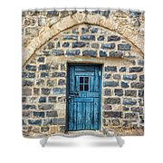 Blue Traditional Door Shower Curtain