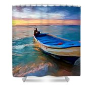 Boat On Beach Shower Curtain