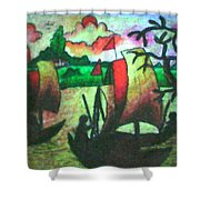 Boat View In Sunset Shower Curtain