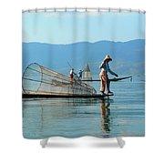 Boatmen On Inle Lake  Shower Curtain