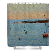 Boats At Smugglers Cove Boothbay Harbor Maine Shower Curtain