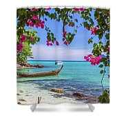 Boats, The Andaman Sea And Hills In Ko Phi Phi Don, Thailand Shower Curtain
