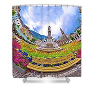 Bolzano Main Square Planet Perspective Panorama Shower Curtain