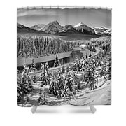Bow Valley River View Black And White Shower Curtain