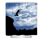 Boy Jumping With Birds Shower Curtain