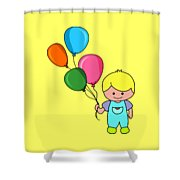 Boy With Balloons Shower Curtain