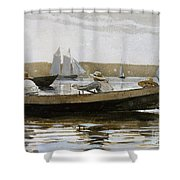 Boys In A Dory, 1873  Shower Curtain