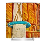 Breeches Buoy In Sleeping Bear Point Boathouse In Sleeping Bear Dunes National Lakeshore-michigan Shower Curtain