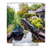 Bridge And River In Old Dutch Village Shower Curtain