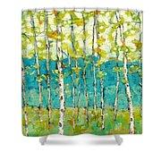 Bright Birches Shower Curtain
