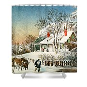Bringing Home The Logs Shower Curtain