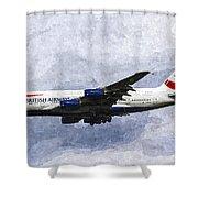 British Airways Airbus A380 Art Shower Curtain