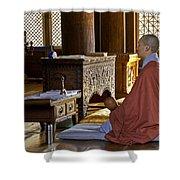 Buddhist Monk In Prayer Shower Curtain