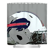 Buffalo Bills Football Team Ball And Typography Shower Curtain