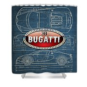 Bugatti 3 D Badge Over Bugatti Veyron Grand Sport Blueprint  Shower Curtain