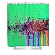 Bullet Hitting Crayons Shower Curtain