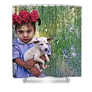 Burmese Girl With Puppy Shower Curtain